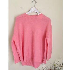 NWT Zara Knit wool blend pink fuzzy oversized crew